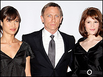 Ukrainian actress Olga Kurylenko as the 'dangerously alluring' Camille, Daniel Craig and Gemma Arterton, British newcomer who will play the role of MI6 Agent Fields