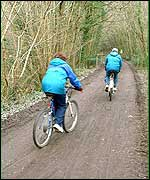 Cyclists on the Plym Trail