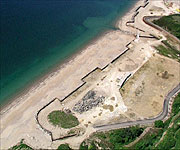 Aerial picture showing the beach at Carlyon Bay