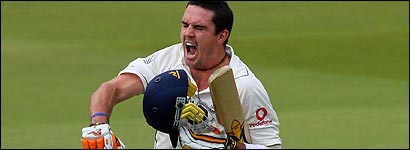 Pietersen shows his delight after reaching his century