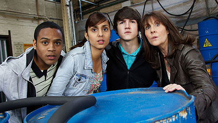 Clyde (Daniel Anthony), Rani (Anjli Mohindra), Luke (Tommy Knight) and Sarah Jane (Elisabeth Sladen)