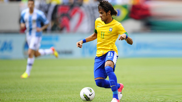 Brazilian footballer Neymar facing Argentina
