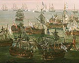 The end of the Battle of Trafalgar - fleeing French and Spanish ships on the horizon