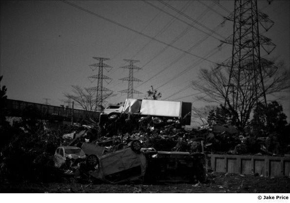 Debris on a street in Sendai