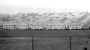 Black and white view of interwar period council housing at Knightswood.