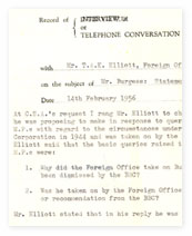 Record of a telephone conversation between the BBC and the Foreign Office.