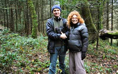 Producer Nick Patrick & Presenter Vanessa Collingridge on location at Treffgarne