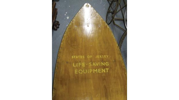One of the surf skis used by States of Jersey Beach Lifeguards in the early years of the surf craze.   © Jersey Heritage