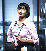 Zoe (Sunetra Sarker) is frantically trying to find Sharice