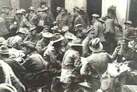British and Australian troops mixing at a YMCA