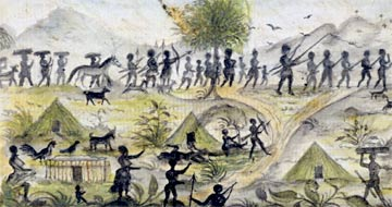 This image from the log of the slave ship 'Sandown' was drawn by captain Samuel Gamble in 1793. It shows the Fulani people bringing captives to the coast to sell to European slave ships