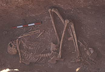 The skeleton of an adult Nubian female. A baby's skeleton lies across her ankles