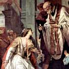 Lucy, a young woman dressed in white, receiving communion from a priest