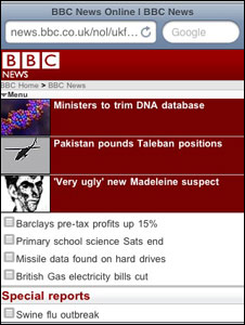 Screengrab BBC News website mobile