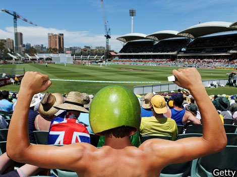 A cricket fan wears a hat made from a watermelon during day two of the second test.