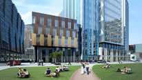 MediaCityUK view from the front, an artistic impression
