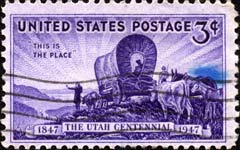 A 1947 U.S. postage stamp commemorates Utah's centenery
