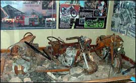 Some of the destroyed motorcycles