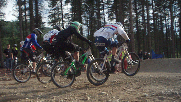 Cyclists at the Fort William Mountainbike World Cup