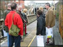 The travellers arrive at Handforth station