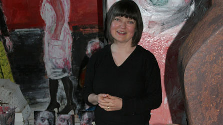 Shani Rhys James in her studio. Photo courtesy Martin Tinney Gallery, Cardiff, www.artwales.com