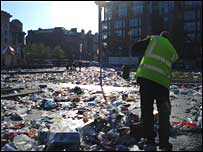 The clean up in Piccadilly Gardens
