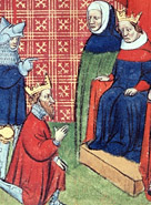 Image taken from a manuscript depicting John Baliol, King of Scotland, offering homage to Edward I of England.