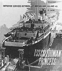 A brochure cover from the early 1960s advertising the Caledonian Princess on the Stranraer crossing