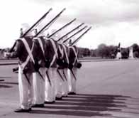 Photograph showing reconstruction parade of Indian soldiers