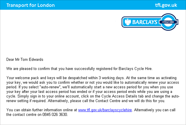 Bike hire email confirmation