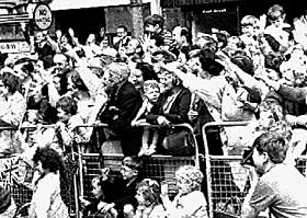 Enthusiastic crowds in Sandy Row in 1966
