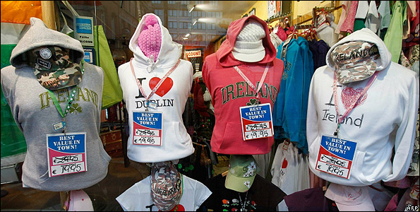 Discounted clothing with 'Ireland' logo in Dublin - file pic