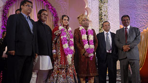 A marriage reception for a politician's daughter in India