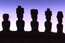 The famous stone figures of Easter Island