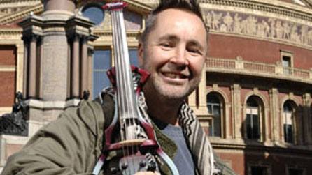 Nigel Kennedy on the steps of the Royal Albert Hall in London to launch the BBC Proms 2008