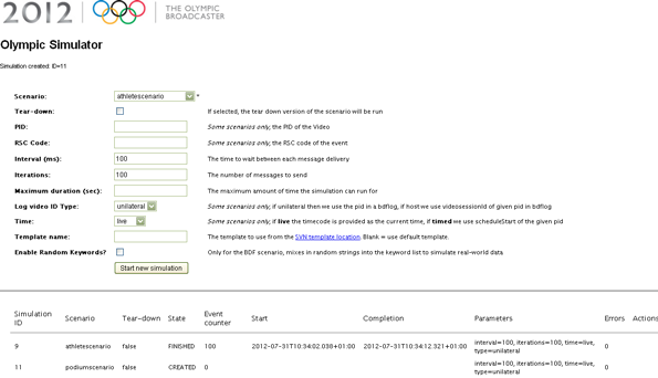Screenshot of the web form interface to the simulator.