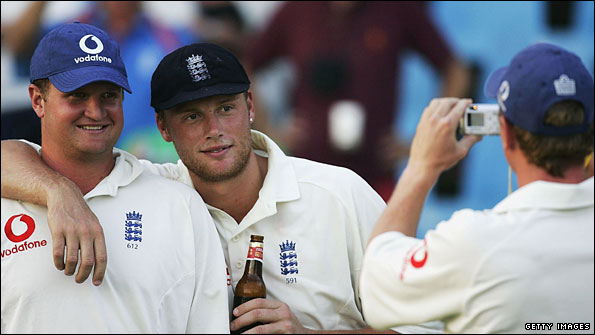 Rob Key and Andrew Flintoff pose for a photograph after England's Test series win in South Africa in 2005