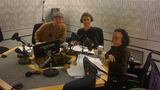 Rob Crossan, Mat Fraser and Liz Carr during the Ouch Talk Show 59