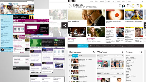 Screengrabs of old and new BBC homepage.