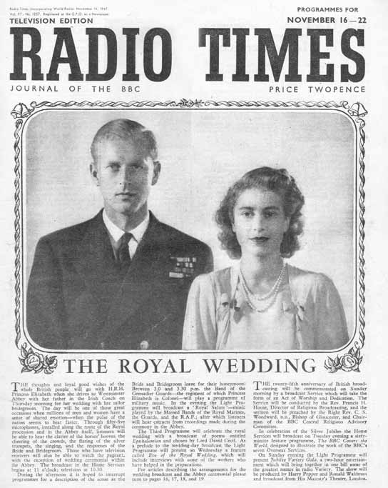 Front cover to the 'Radio Times' Royal Wedding special.
