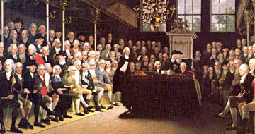 Karl Anton Hickel painting depicting William Pitt addressing the House of Commons after the French declaration of war in 1793