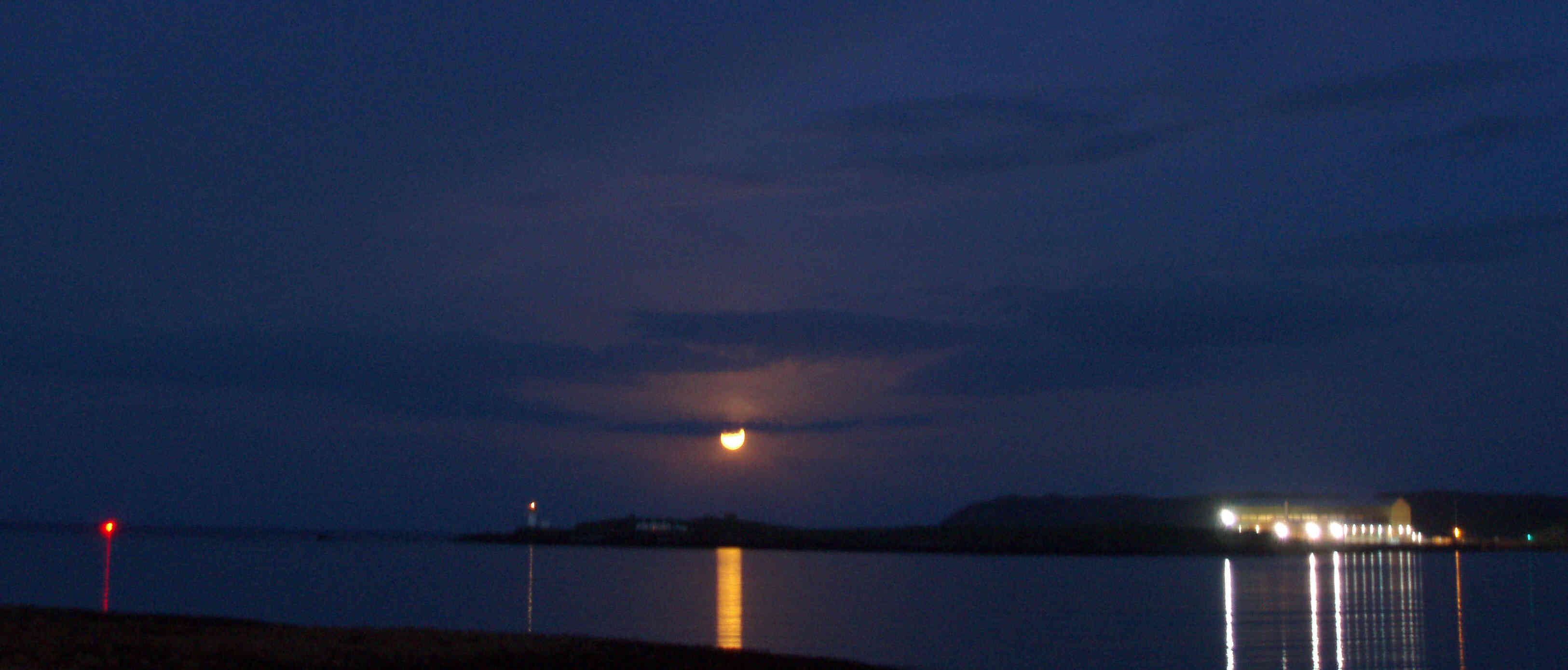 The Arnish Lighthouse, the midsummer full moon, and Arnish Fabrication Yard