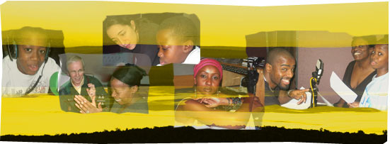 Actors from African Performance 2007 on a background of African plains