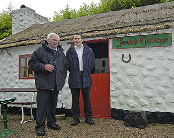 Tom Graham and his son Steven at 'Jamies Cottage' which Tom built in 1998