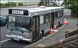The BBC Bus on Walney  Island