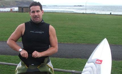 The Gaffer. Andy Hill gears up for some late winter surfage at his home Port breaks. 6 times and Irish champ, and still charging hard. Pic: M, Feb 07