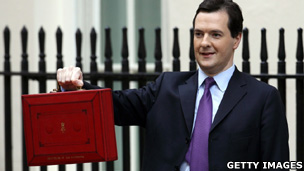 The Chancellor George Osborne with the red budget box