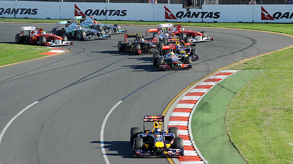 Sebastian Vettel leads the field at the first corner of the Australian Grand Prix