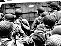 Photograph showing US troops at the start of their assault on Normandy's beaches