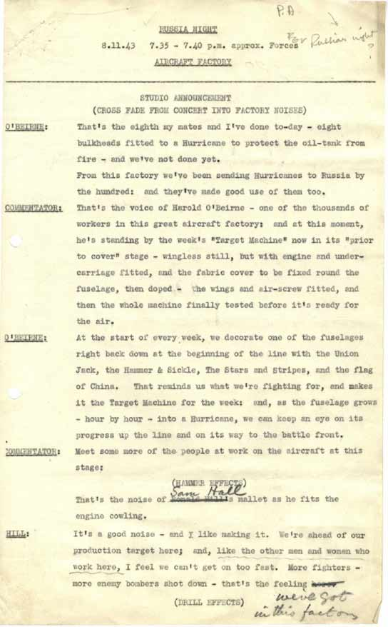Page one of a script celebrating Russia's contribution to the war effort.
